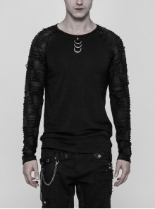 Front Collar Metal D-Buckle Broken Holes Raglan Sleeve Black Punk Knit T-Shirt