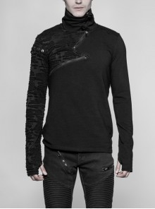S-Shaped Zipper Button High Collar Right Sleeve Broken Holes Knit Metal Eyelets Lace-Up Black Punk Sweater