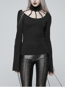 High Collar Front Chest Hollow-Out Knit Strip Open-Fork Horns Sleeve Leather Lace-Up Tassel Black Gothic T-Shirt