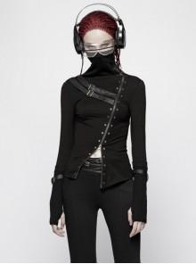 High Collar Front Metal Eyelets Zipper Leather Hasp Long Sleeve Black Punk T-Shirt