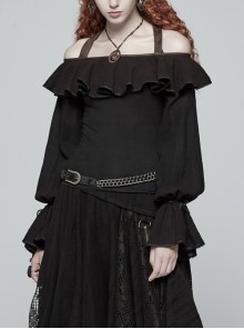 Front Chest Frill Lantern Sleeves Lace-Up Black Punk Halter Handmade Inkjet Blouse