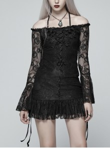 Off-Shoulder Front Chest Three-Dimensional Floral Decoration Lace-Up Flare Sleeve Black Gothic Halter Lace Dress