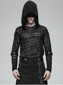 Dark Pattern Slight Perspective Shoulder Leather Hasp Long Sleeves Splice Broken Holes Cuff Black Punk Hooded T-Shirt