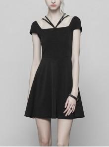 Gothic Female Black Lace Stitching High Waist Dress