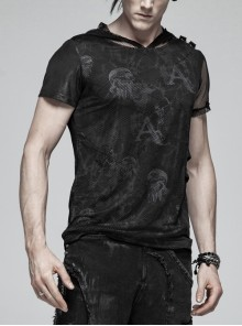 Ghost Head Printing Side Leather Hasp Short Sleeves Splice Mesh Black Punk Hooded Knit T-Shirt