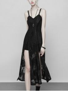 Gothic Dark Female Lace Retro Bandage Strap Long Dress