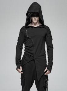 Shoulder Braided Belt Long Sleeves Side Lace-Up Irregular Sharp Corner Hem Black Punk Hooded Knit T-Shirt