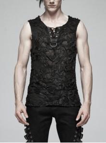 Front Chest Lace-Up Metal D-Buckle Black Punk Broken Holes Knit Vest