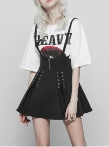 Steam Punk Female Black High Waist Bandage Zipper Braces Skirt
