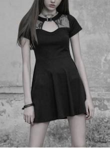 Gothic Female Dark Hollow Lace Stitching Metal Button High Waist Dress