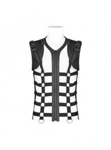 Front Hollow-Out Leather Straps Shoulder Metal Hasp Black Punk Knit Vest