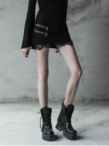 Steam Punk Female Black Elastic Lace Hem Metal Zipper Skirt