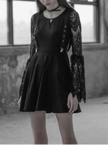 Gothic Female Black Hollow V-neck  Lace Long Sleeves Braces Dress