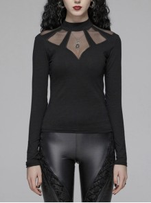 Small High Collar Front Chest Splice Mesh Long Sleeve Black Punk Tight T-Shirt