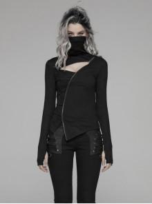 High Collar Front Chest Hollow-Out Irregular Pleats Splice Broken Holes Knit Long Sleeve Slit Hem Black Punk T-Shirt