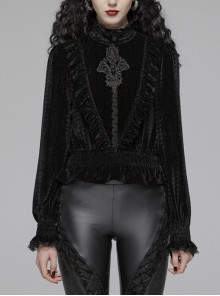 High Collar Front Chest Embroidery Lantern Sleeve Lace Cuff Frill Hem Black Gothic Dark-Grain Velvet Blouse