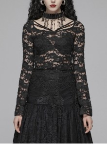 Lace-Up Collar Flare Sleeve Black Gothic Lace Perspective T-Shirt