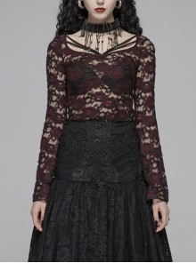 Lace-Up Collar Flare Sleeve Wine Red Gothic Lace Perspective T-Shirt