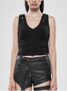 V-Neck Back Metal Eyelets Lace-Up Black Punk Fine Rib Tight Vest