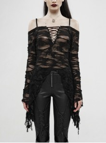 Off-Shoulder V-Neck Lace-Up Flare Sleeve Sharp Corner Hem Black Punk Broken Holes Knit T-Shirt