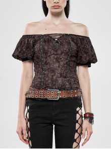 One-Word Shoulder Front Chest Lace-Up Bubble Sleeve Metal Nails Leather Strap Wine Red Flocking Chiffon T-Shirt