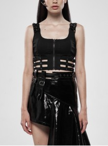Metal Buckle Patent-Leather Straps Front Zipper Waist Hollowed-Out Ribbon Black Punk Tight Vest