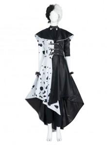 Cruella Dalmatians Coat Halloween Cosplay Costume Set