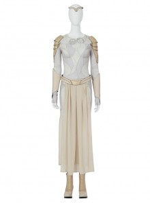 Eternals Thena Beige Battle Suit Halloween Cosplay Costume Bodysuit Set Without Shoes
