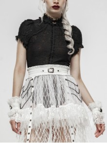 Black Lolita Embroidery Lace Stand-Up Collar Small Bubble Sleeve Gothic Tight T-Shirt