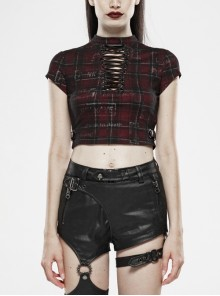High Collar Front Chest Hollow-Out Lace-Up Short Sleeve Side Leather Hasp Wine Red Printed Plaid Punk Short T-Shirt