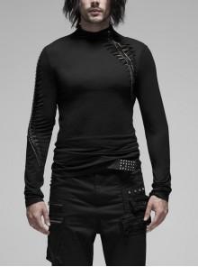 High Collar Metal Zipper Keel Decoration Long Sleeve Black Punk T-Shirt