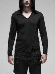 V-Neck Right Shoulder Metal Hand-Beaded Epaulettes Long Sleeve Irregular Seam Black Punk Hooded T-Shirt