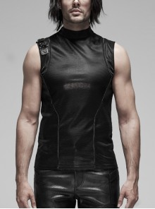 Small Stand-Up Collar Right Shoulder Metal Hasp Black Punk Imitation Leather Sleeveless Tight T-Shirt