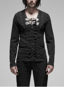 Leather Hasp Collar Front Cross-Threading Lace-Up Long Sleeve Black Punk Knit T-Shirt
