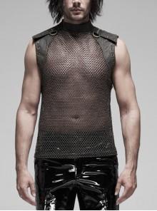 Small High Collar Shoulder Metal D-Buckle Rivet Decoration Black Punk Woven Mesh Vest