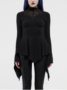 Embroidery High Collar Flare Sleeve A-Shape Frill Hem Black Gothic Knit T-Shirt