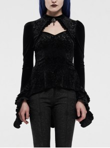 Front Chest Hollow-Out Flare Sleeve Double Stringy Selvage Cuff Back Waist Lace-Up Black Gothic Velvet Shadow Flower Blouse