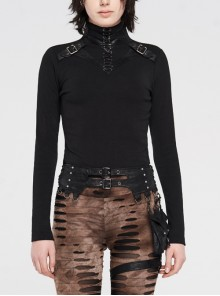 High Collar Front Chest Leather Hasp Metal Eyelets Lace-Up Long Sleeve Black Punk T-Shirt