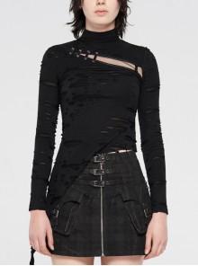 High Collar Front Chest Hollow-Out Strap Long Sleeve Irregular Hem Broken Holes Splice Mesh Black Punk T-Shirt