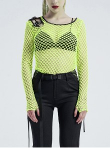 Round Collar Shoulder Hollow-Out Leather Hasp Long Sleeve Fluorescent Green Punk Coarse Mesh T-Shirt
