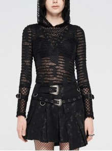 Front Chest Metal Eyelets Lace-Up Long Sleeve Hasp Loop  Black Punk Print Knit Splice Mesh Hooded T-Shirt