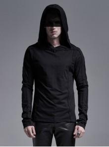 Collar Metal Rivet Long Sleeve Black Punk Hooded Knit T-Shirt