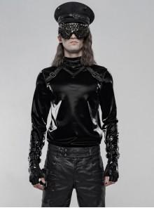High Collar Front Leather Hasp Long Sleeve Black Punk Imitation Sharkskin Knitting T-Shirt