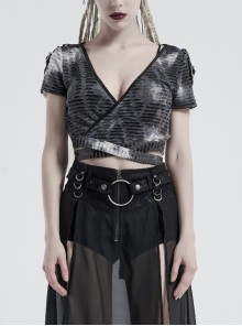 Large V-Neck Shoulder Leather Hasp Splice Broken Holes Knit Waist Bandage Grey Punk Tie-Dye Short T-Shirt