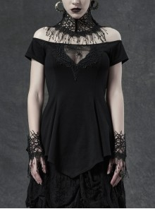 Horizontal Neck Front Chest Lace Embroidery Short Sleeve Frill Hem Black Gothic T-Shirt