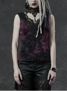 Lace High Collar Chest Hollow-Out Lace-Up Big Wave Hem Purple Gothic Flocking Network Knitting Vest