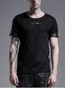 Metal D-Buckle Straps Short Sleeve Black Punk Twill T-Shirt