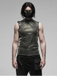 High Collar Shoulder Leather Hasp Back Zipper Black Punk Imitation Leather Sleeveless T-Shirt