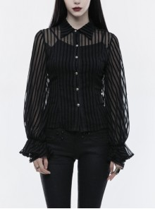 Striped Lantern Sleeves Lace Cuff Back Waist Lace-Up Black Punk Chiffon Flocking Woven Blouse