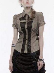 Front Metal Buttons Metal Decoration Short Sleeve Brown Punk Woven Splice Crack Leather Blouse